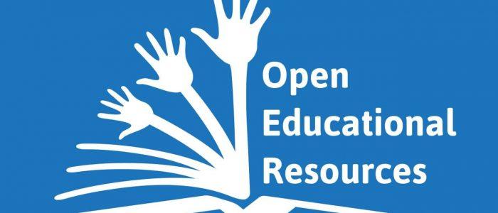 Loggan för Open Educational Resources, tre händer som sträcks ur en bok