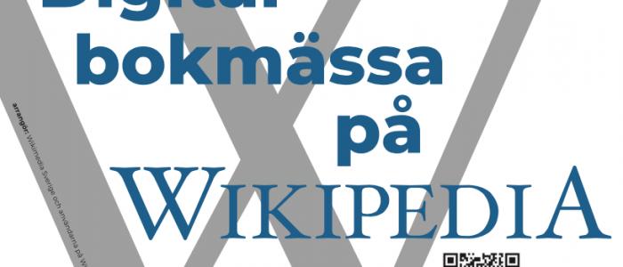 """Folder med ett W i bakgrunden och texten """"Digital bokmässa på Wikipedia, 24-27 september 2020"""""""