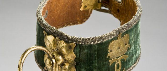 Ett hundhalsband i grön sammet